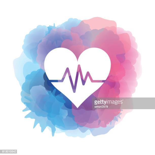 heartbeat icon on watercolor background - fitness stock illustrations, clip art, cartoons, & icons