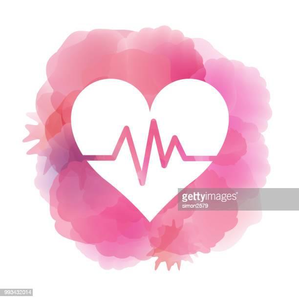 ilustrações, clipart, desenhos animados e ícones de ícone de batimento cardíaco no fundo aquarela - cardiovascular exercise