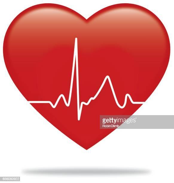 heartbeat monitor heart - listening to heartbeat stock illustrations, clip art, cartoons, & icons