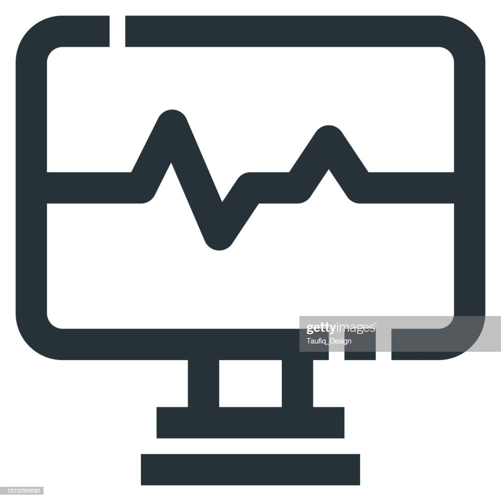 Heartbeat Monitor Vector Line Icon 32x32 Pixel Perfect. Editable 2 Pixel Stroke Weight. Medical Health Icon for Website Mobile App Presentation