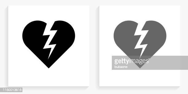 heartbreak black and white square icon - broken heart stock illustrations