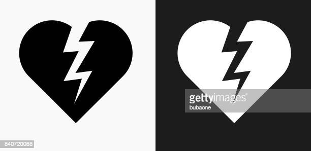 Heartbreak Icon on Black and White Vector Backgrounds
