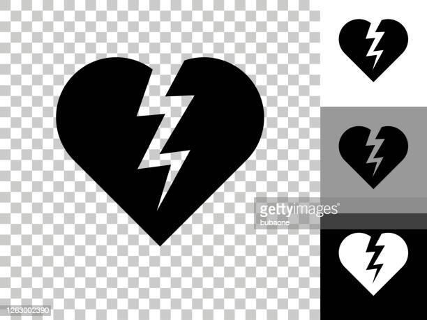 heartbreak icon on checkerboard transparent background - broken heart stock illustrations