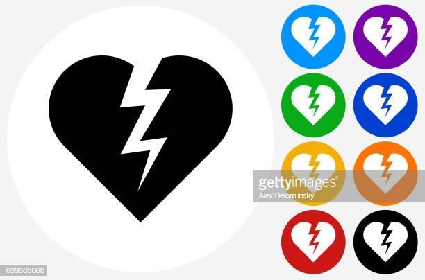 Heartbreak Icon on Flat Color Circle Buttons