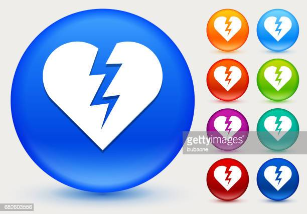 Heartbreak Icon on Shiny Color Circle Buttons