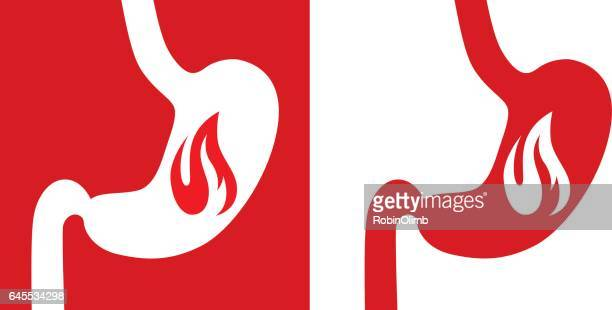 heartburn stomach icons - stomach pain stock illustrations, clip art, cartoons, & icons