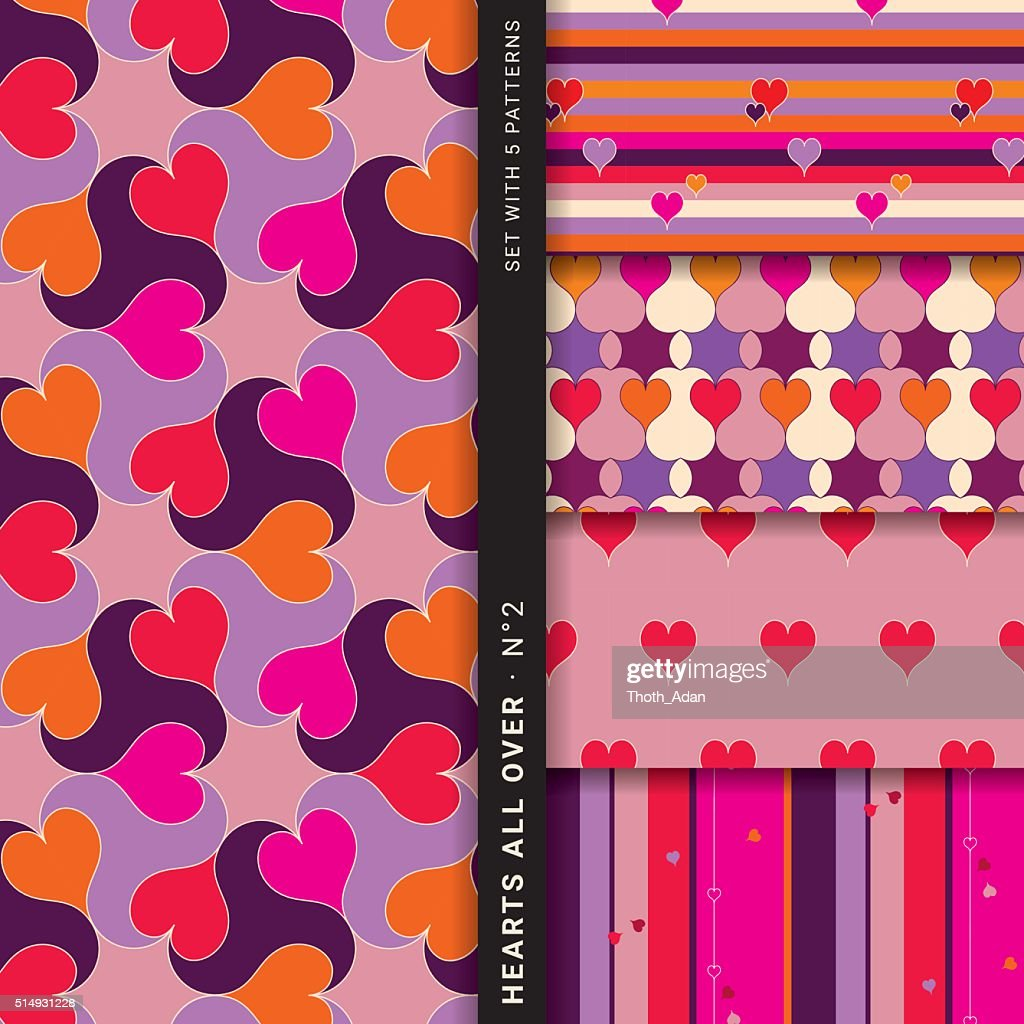 Hearts all over Vol. 2 (Set with 5 seamless patterns) : Vector Art