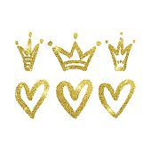 Hearts and crowns set