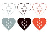 Hearts and Little Birds - red black gray colors