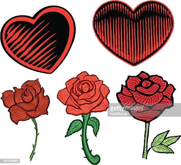 hearts and roses - valentine - rose petals stock illustrations, clip art, cartoons, & icons