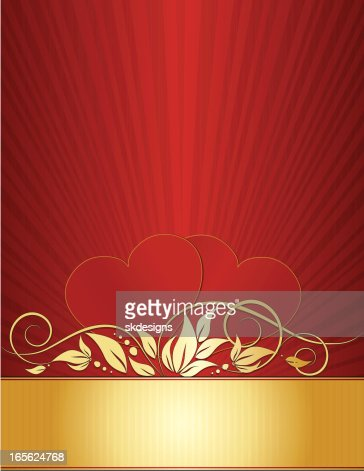 Hearts And Swirls Background Design In Red Gold Vector Art