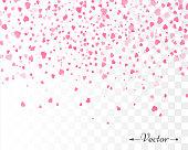 Hearts confetti isolated. Valentines vector template