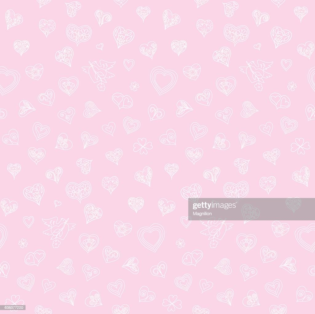 Hearts Doodles Seamless Pattern