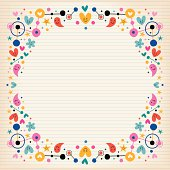 Hearts, dots, flowers and stars funky note paper frame border