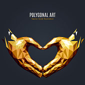Hearts hand sign low poly gold
