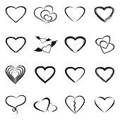 Hearts Icons. Black Flat Design. Vector Illustration.