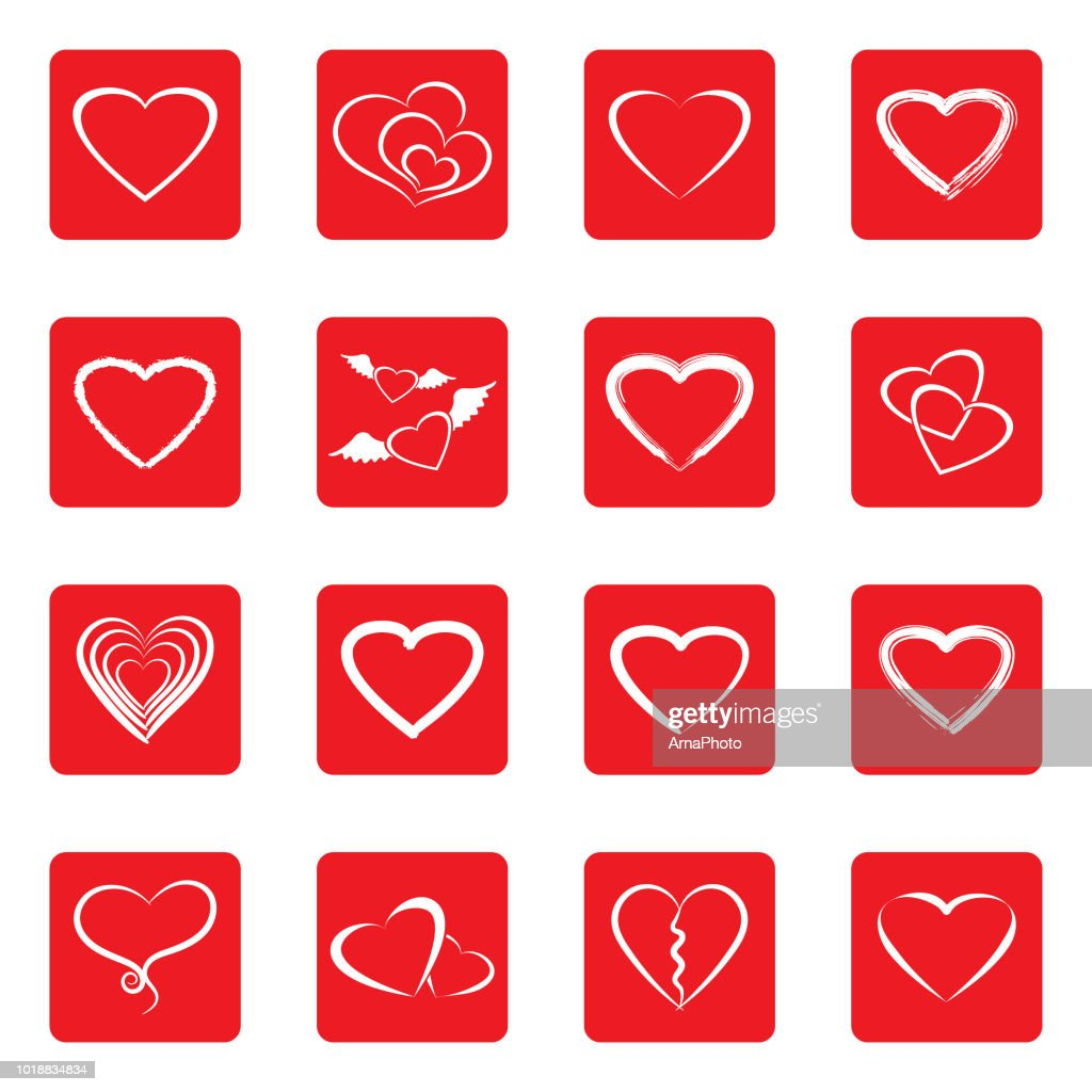 Hearts Icons. White Flat Design In Square. Vector Illustration.
