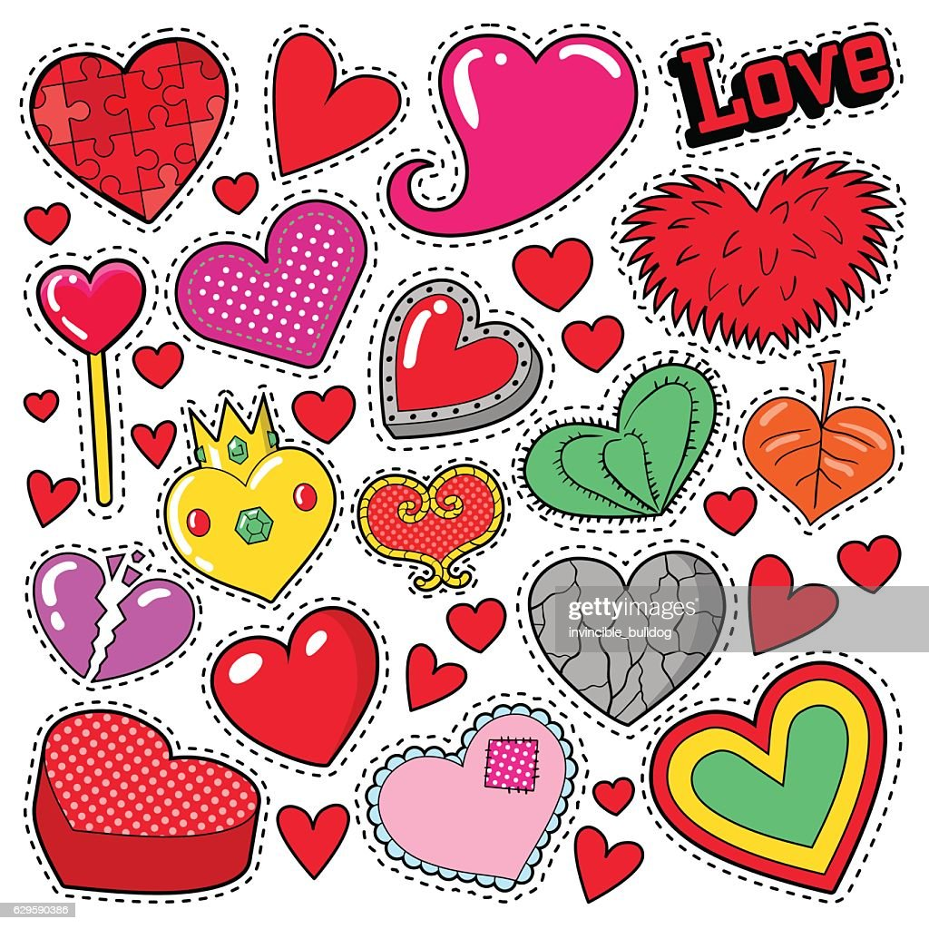 Hearts Love Badges, Stickers, Patches  for Romatic Scrapbook Design