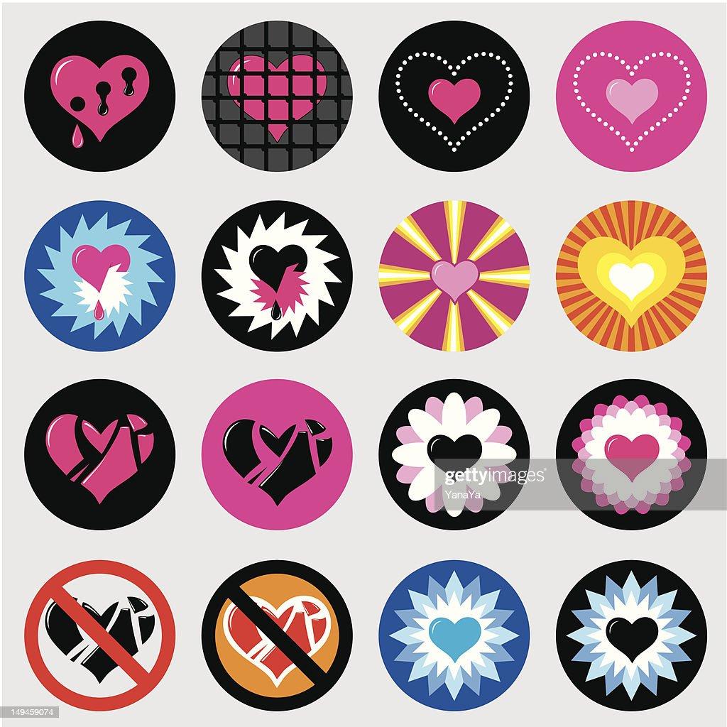 hearts love icons set