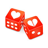 hearts on two red dice