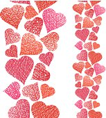 Hearts seamless pattern, vertical composition, Love theme seamle