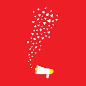 hearts shape flying out frome megaphone on red background