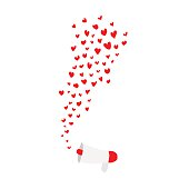 hearts shape flying out frome megaphone on white background