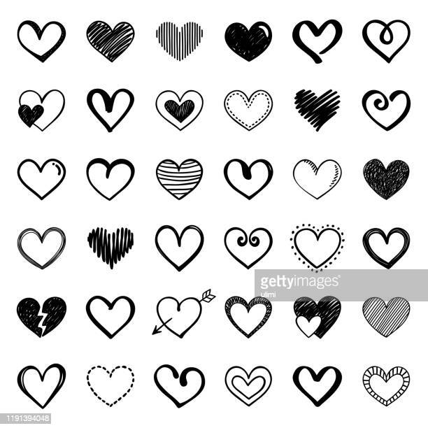 hearts - dotted line stock illustrations