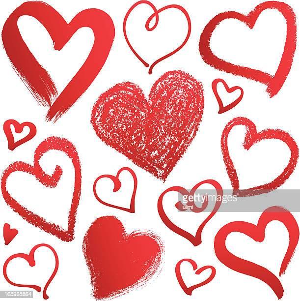 ilustraciones, imágenes clip art, dibujos animados e iconos de stock de corazones - cepillar
