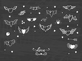 Hearts with Wings for Valentines Day or Wedding greeting cards. Love Vector Set. Beautiful Doodle Heart tattoo. Hand drawn illustration