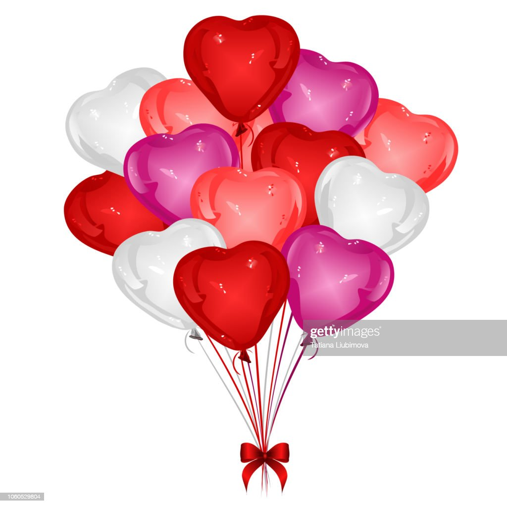 Heart-shaped balloons with red ribbon bow,  vector illustration.