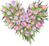Heart-shaped bunch of tulips