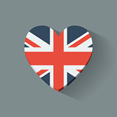 Heart-shaped icon with flag of the UK