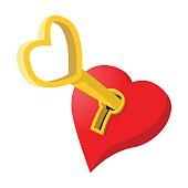 Heart-shaped padlock with key cartoon icon