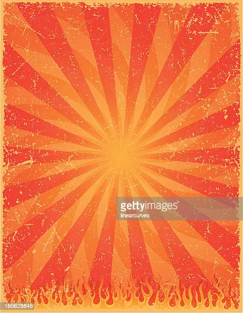 heat background - sunburst, fire and flames - run down stock illustrations, clip art, cartoons, & icons