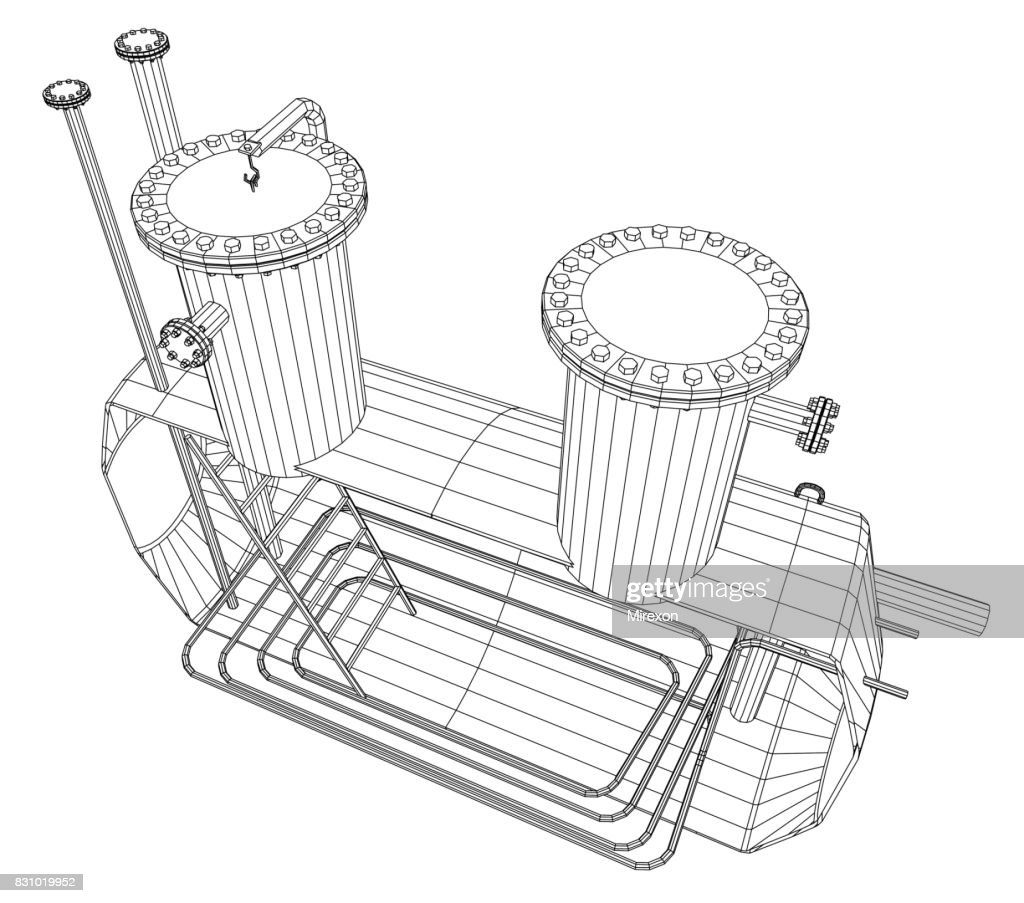Heated barrel. Industrial tank. EPS10 format. Vector created of 3d.