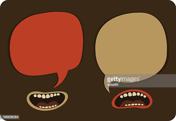 heated conversation - communication problems stock illustrations