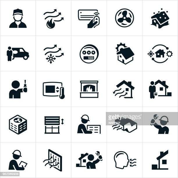 heating and air conditioning icons - heat stock illustrations