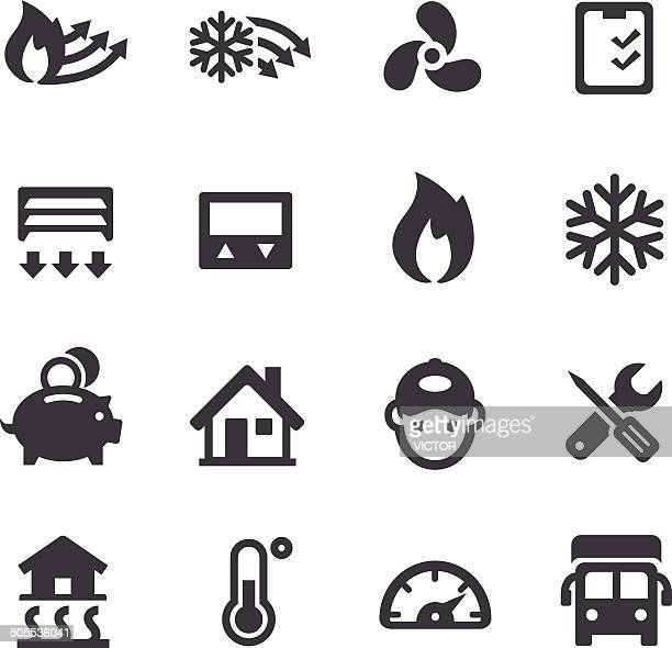 heating and cooling icons - acme series - electric fan stock illustrations