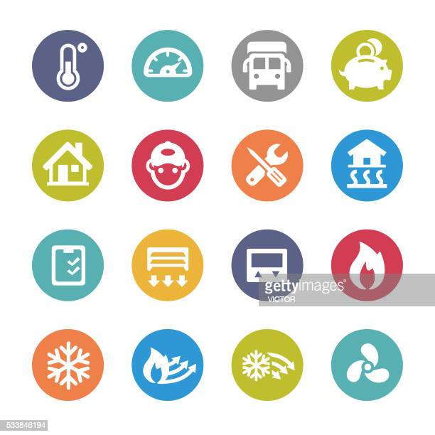 Heating and Cooling Icons - Circle Series