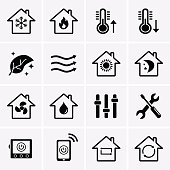 Heating and Cooling Icons. HVAC (heating, ventilating, and air conditioning) technology.