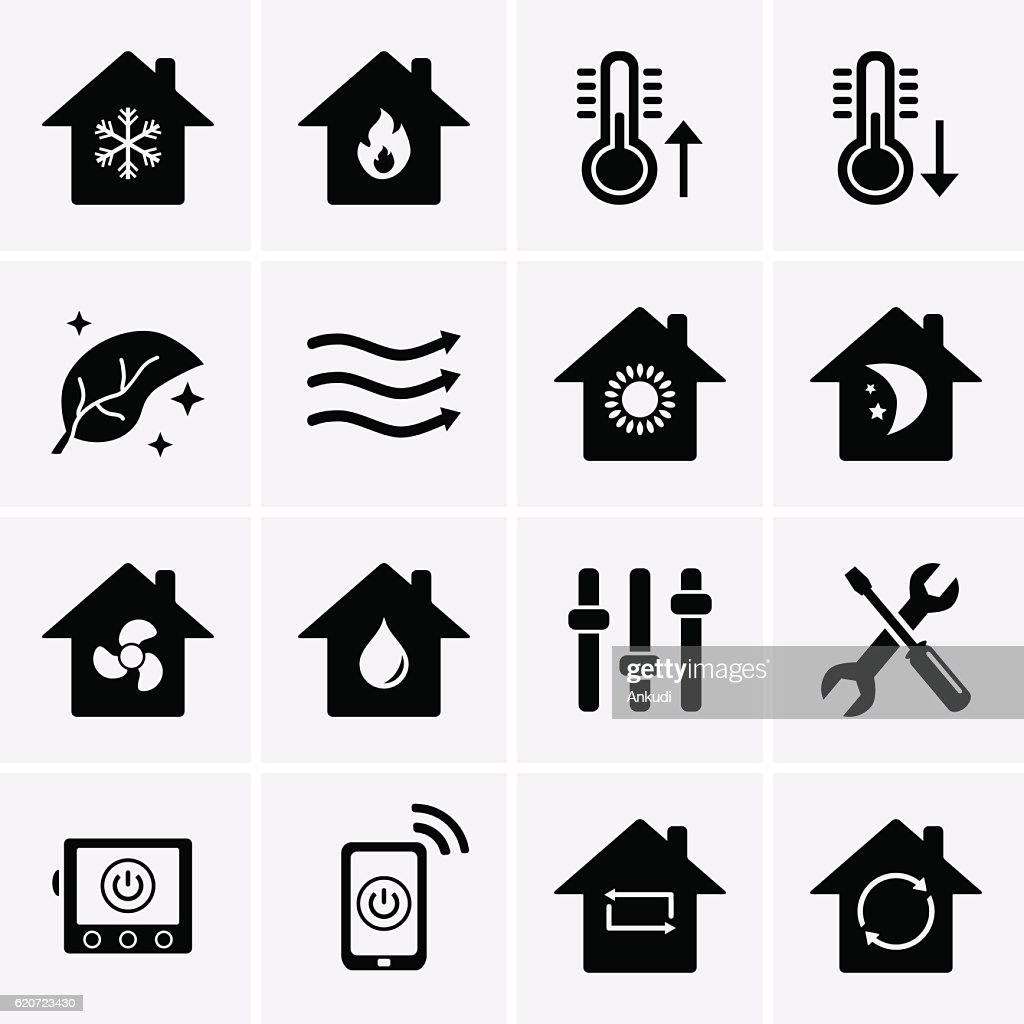 Heating and Cooling Icons. HVAC