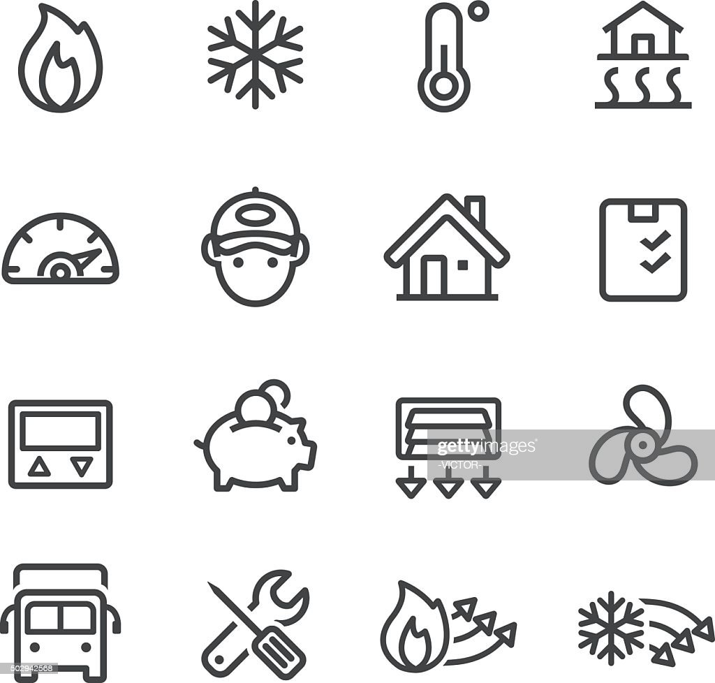 Heating and Cooling Icons - Line Series : stock illustration