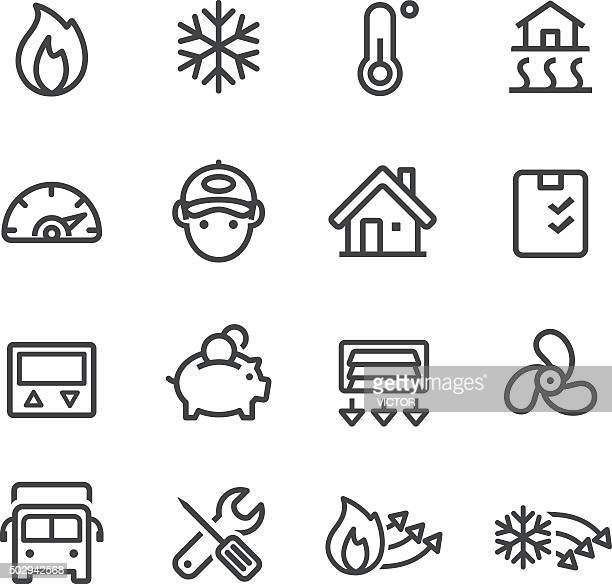 heating and cooling icons - line series - fire natural phenomenon stock illustrations, clip art, cartoons, & icons