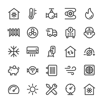 Heating and Cooling Icons - MediumX Line - gettyimageskorea