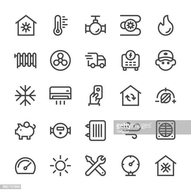 heating and cooling icons - mediumx line - boiler stock illustrations, clip art, cartoons, & icons