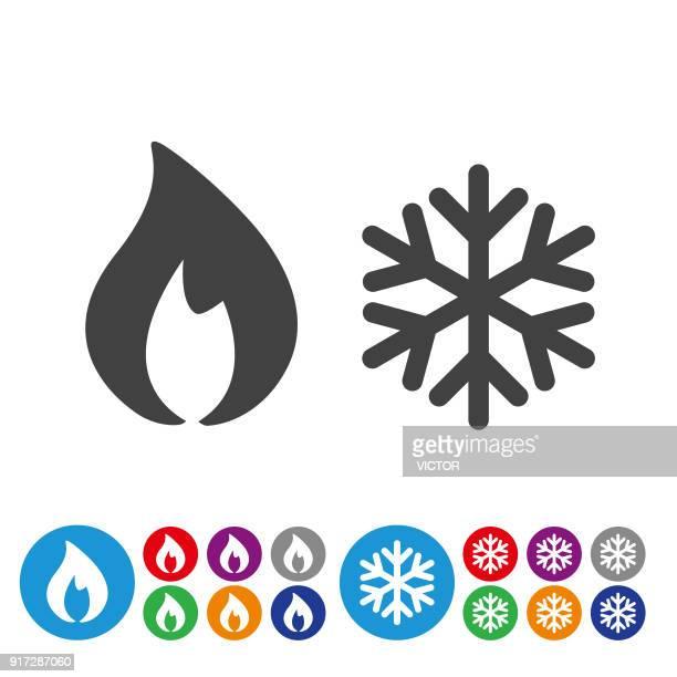 ilustraciones, imágenes clip art, dibujos animados e iconos de stock de calefacción y refrigeración conjunto de iconos - serie icono gráfico - aparato de aire acondicionado