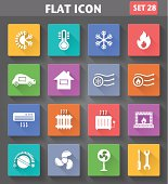 Heating and Cooling Icons set in flat style