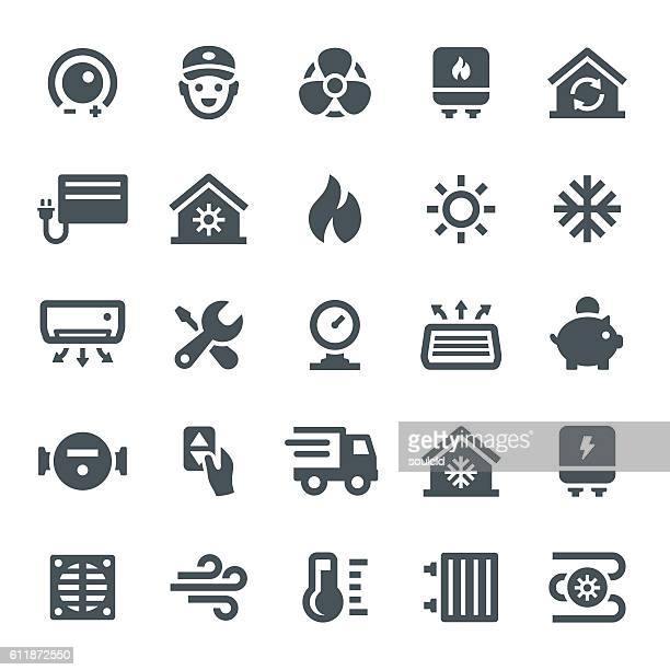 heating and cooling icons - electric fan stock illustrations