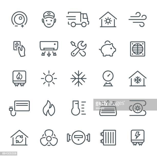 heating and cooling icons - temperature stock illustrations